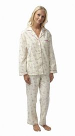 Ladies 100% Cotton Wincey Pyjamas Floral Pink on Cream 8 - 26